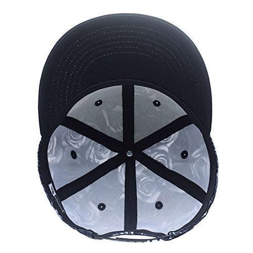 Premium Floral White Rose Twill Hat Flat Peaked Baseball Caps