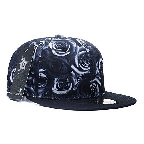 Premium Floral White Rose Adjustable Hat Hip-Hop Flat Peaked Baseball Caps
