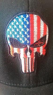 Punisher USA flag flex fit hat NEW skull ball cap NWT