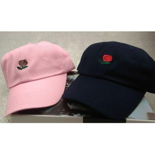 Rose Embroidered Dad Hat Women Men Cotton Floral Baseball Cap