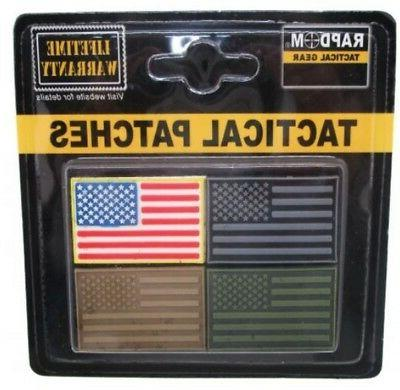 "RAPDOM Rubber USA Flag Patches 1.5""x1"" Reverse Facing Flags"