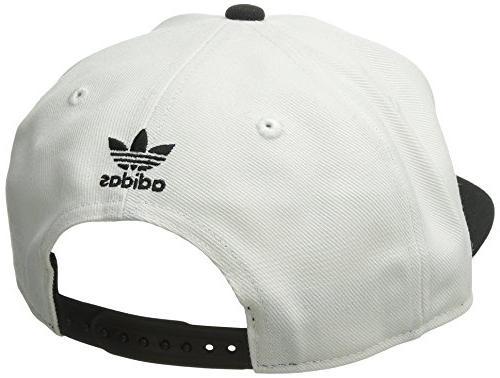 Snapback Brim Cap, White/Black, One