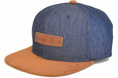 Skyed Apparel Dark Denim Snapback Hat with Genuine Leather S
