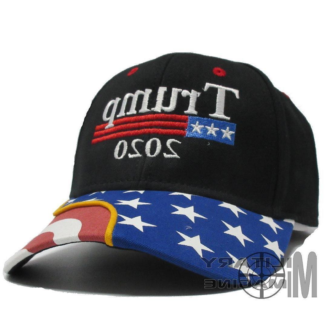 the Trump 2020 Black Cap US Flag Keep America Great hat Pres