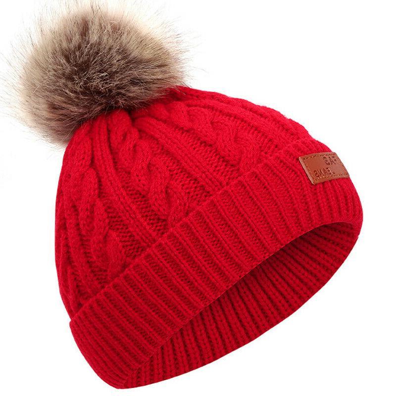 Toddler Baby Warm Hat Girl Pom Cap