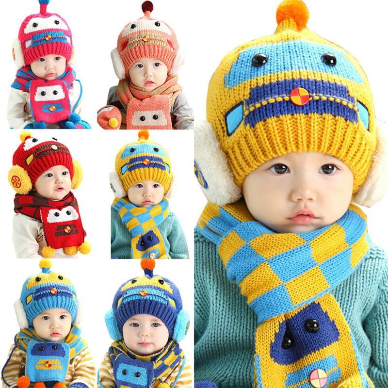 Toddler Infant Boys Girls Fur Pom Beanie Cap