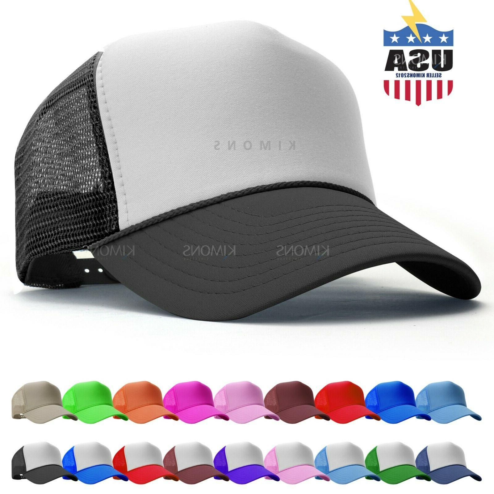 Trucker Hat Foam Mesh Baseball Cap Adjustable Snapback Solid