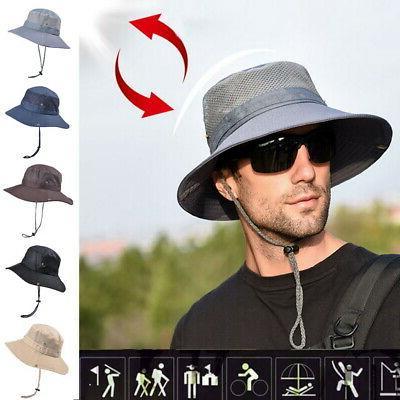 USA Men's Sun Hat Bucket Fishing Hiking Cap Wide Brim UV Pro