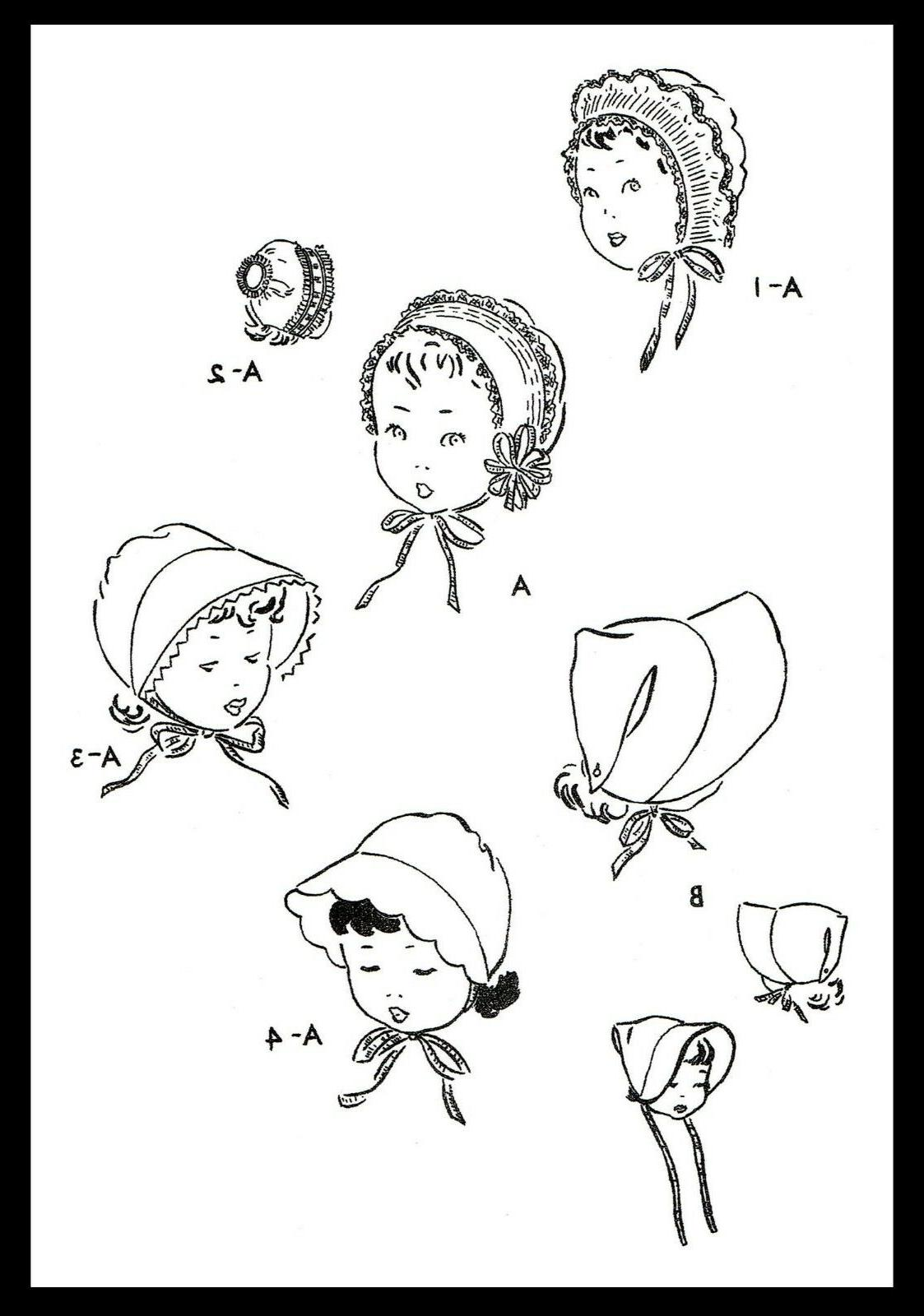"Vogue #2661 Fabric GIRLS Bonnets Hats BABY 12"""