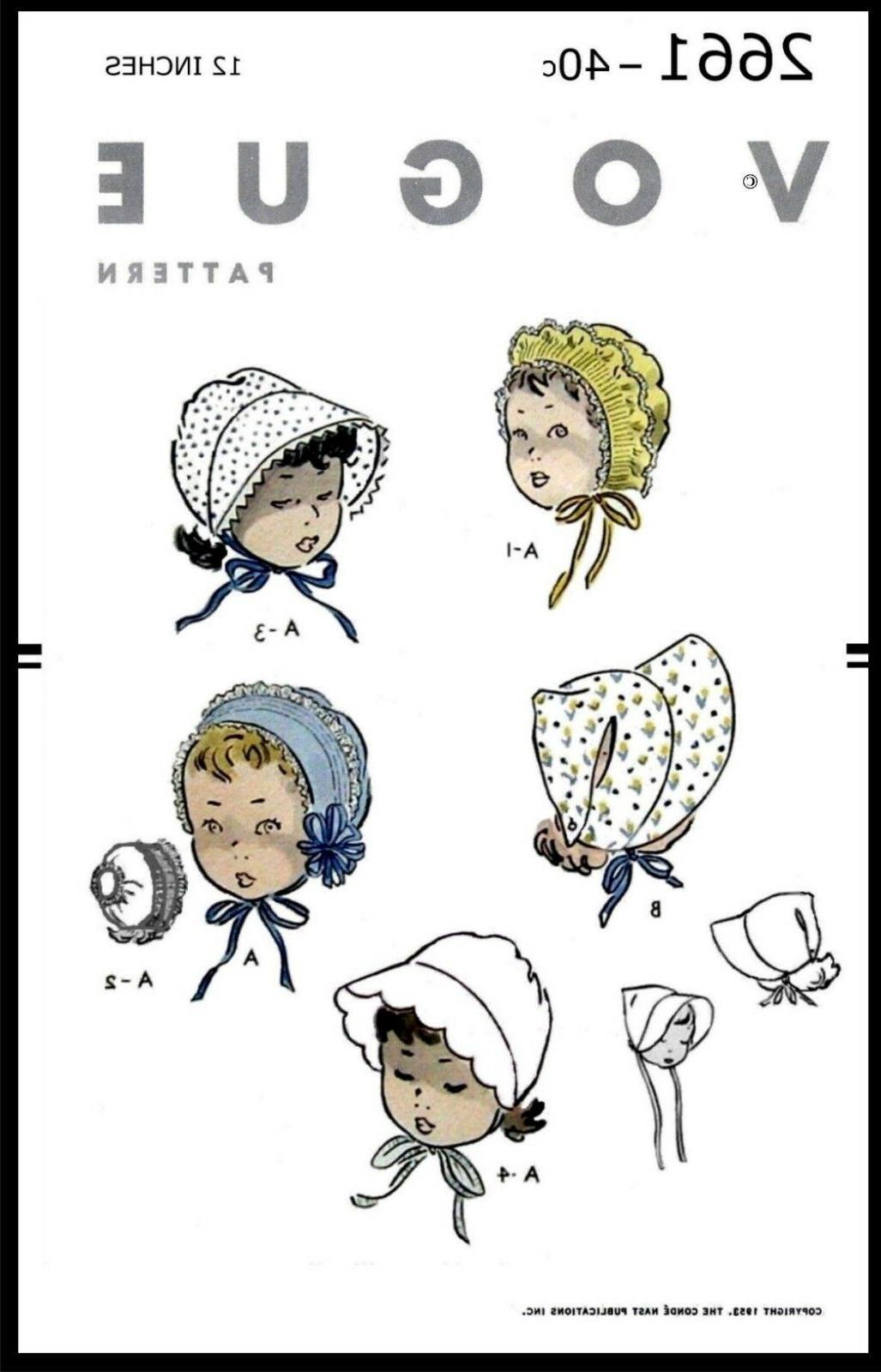 vogue 2661 fabric pattern girls bonnets hats