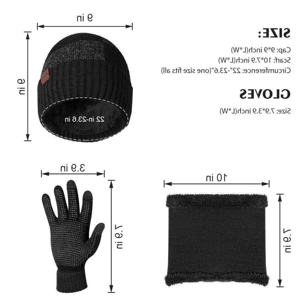 Winter Piece Set Knit Beanie Scarf Touchscreen Women Warm Suit