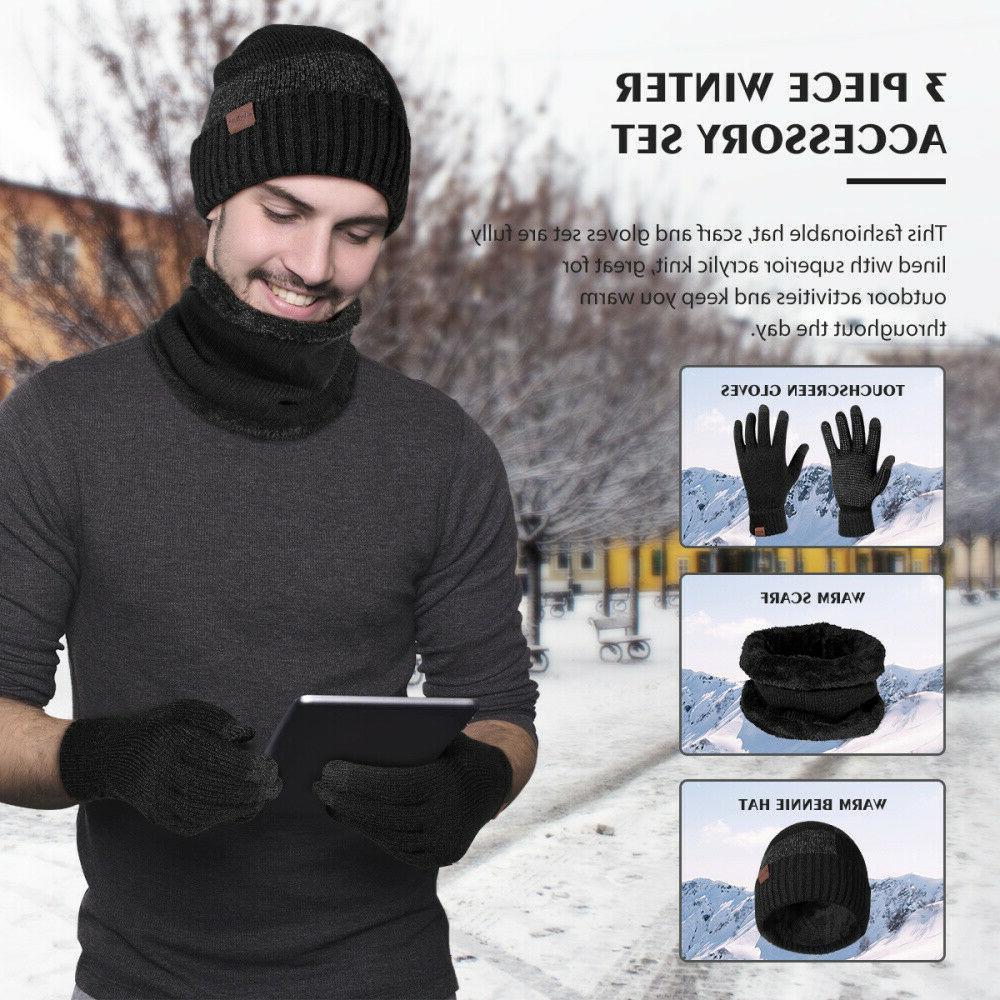 Winter 3 Piece Knit Touchscreen Warm Suit