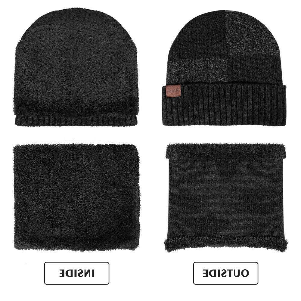 Winter 3 Knit Beanie Hat Scarf Warm Suit