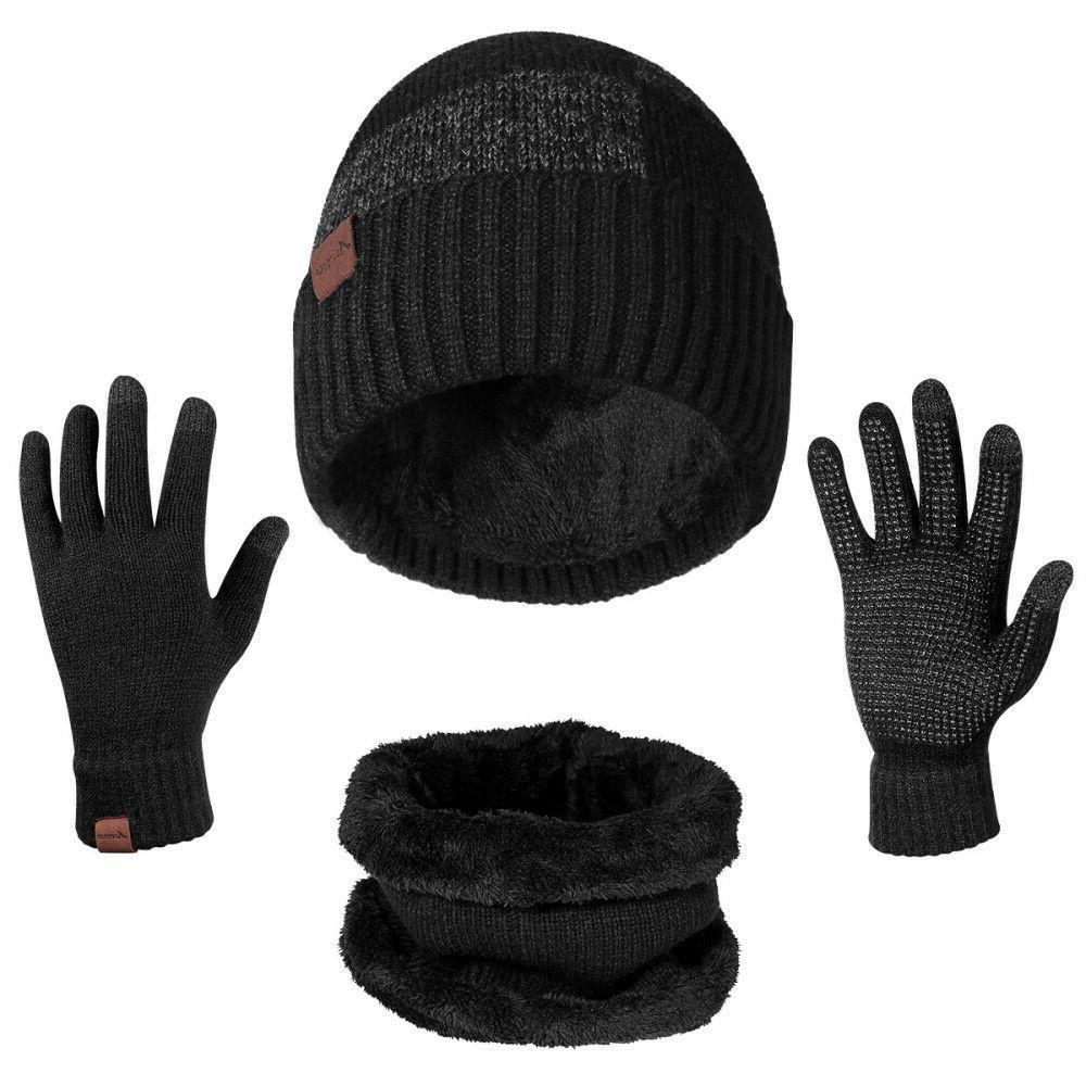 winter 3 piece set knit beanie hat