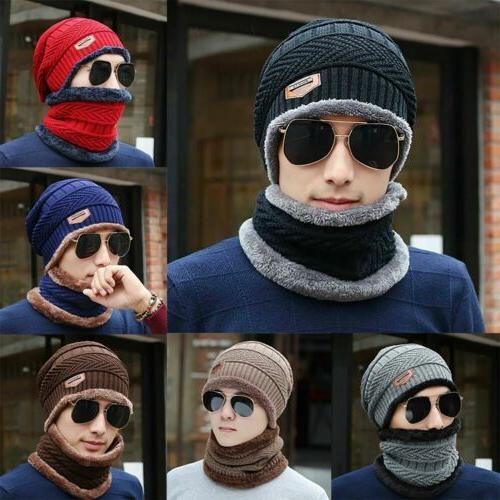 winter beanie hat scarf set fleece warm