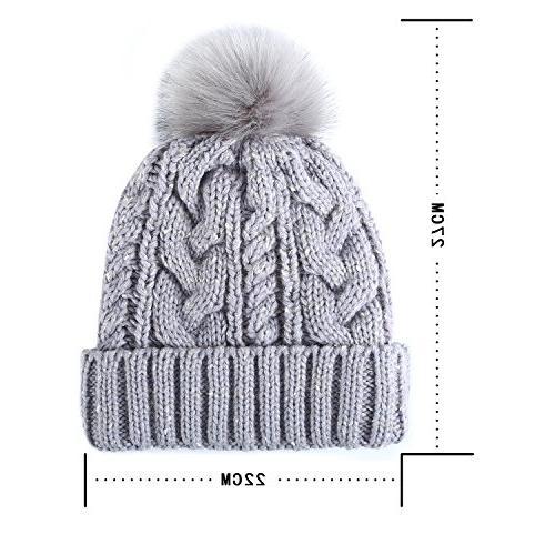 REDESS Pom Hat with Warm Fleece Slouchy Snow Ski Cap