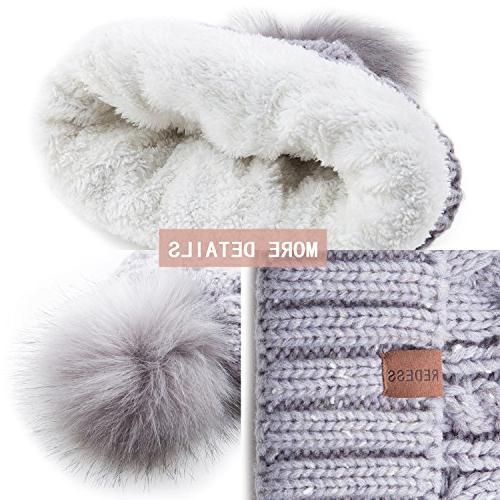 REDESS Women Winter Pom Beanie Hat Warm Fleece Lined, Slouchy Ski