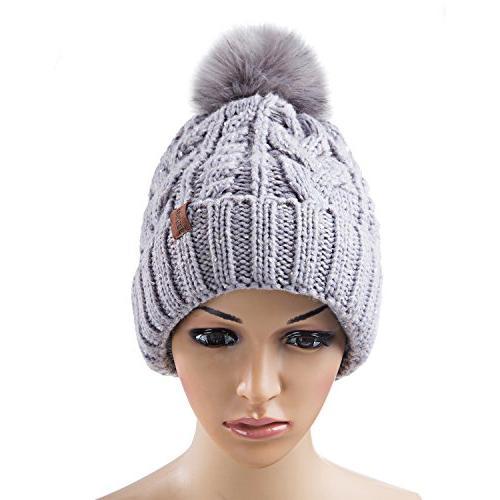 Pom Beanie Hat with Warm Fleece Thick Slouchy Snow Ski