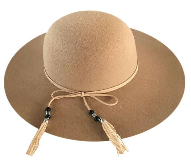 WOMAN'S POLYESTER FELT HAT BEADED BAND FRINGES
