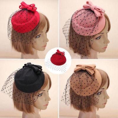 Women Bowknot Hairclip Hair Pillbox Cocktail Party Hat Veil