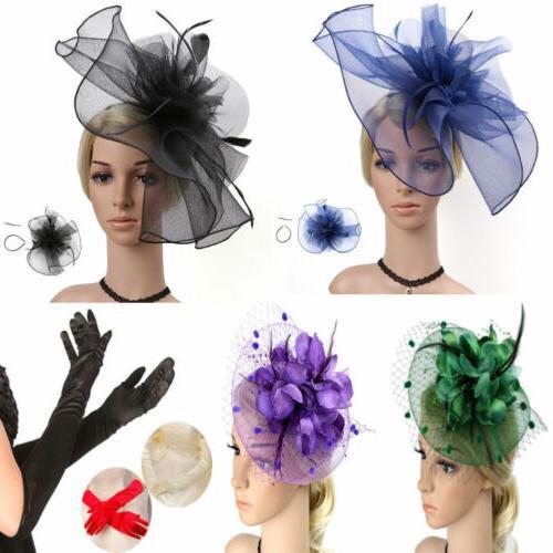 women feather flower net hair accessories hats