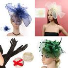 Women Feather Flower Net Hats Hair Accessories Dress Hat Glo
