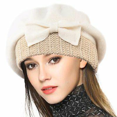 VECRY Women's 100% Wool Bucket Hat Felt Cloche Bow Dress Win