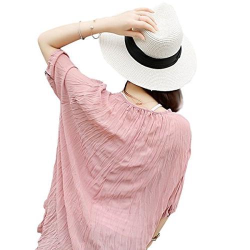 Lanzom Wide Straw Panama Hat Beach Hat One Size