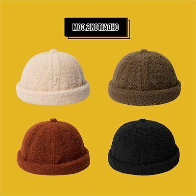Wool Skullies Beanies Men's Hats Winter Warm Round Hat Briml