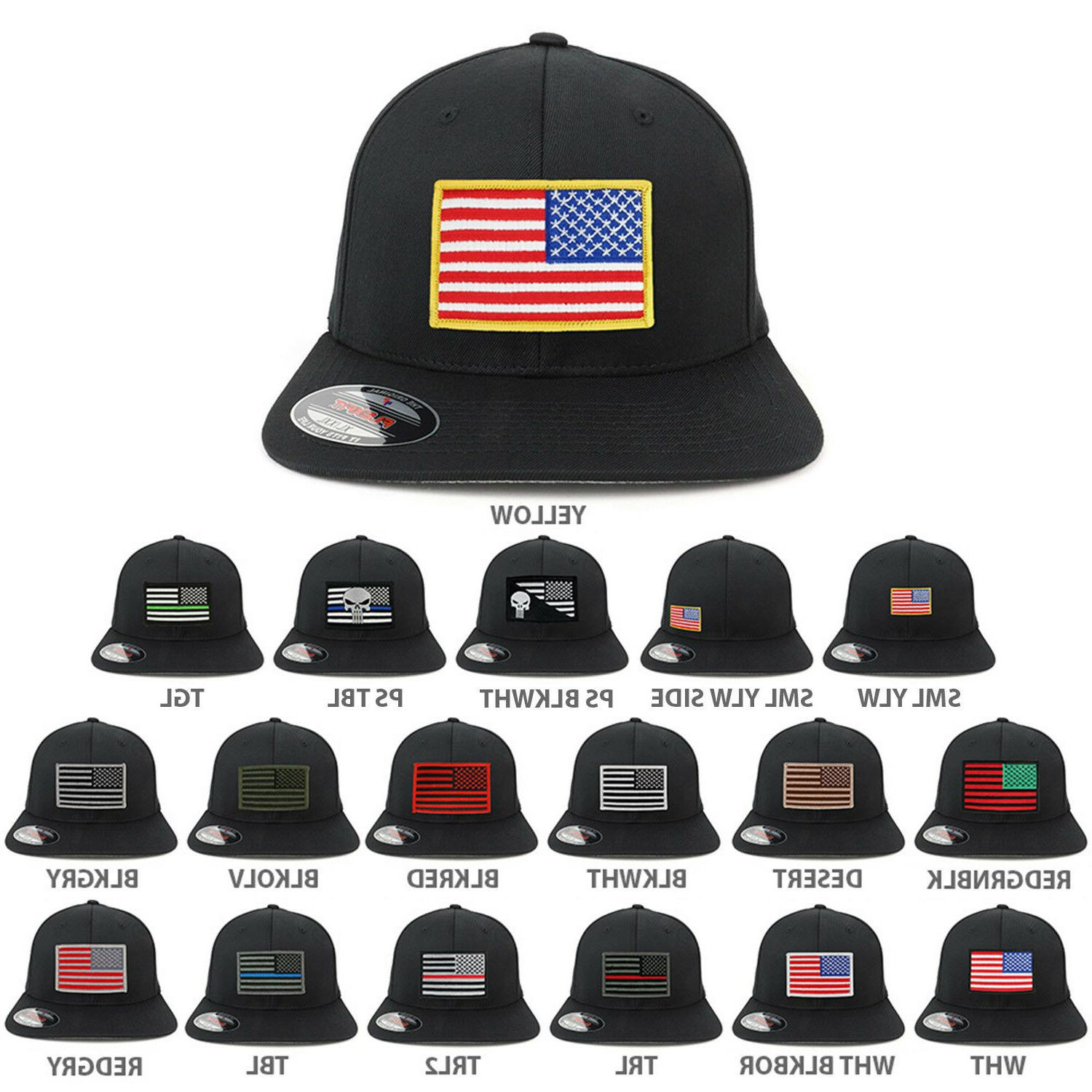 XXL USA American Flag Embroidered Iron On Patch Flexfit Cap