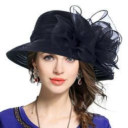 VECRY Lady Derby Dress Church Cloche Hat Bow Bucket Wedding