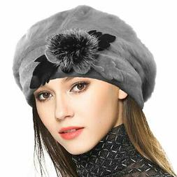 VECRY Lady French Beret 100% Wool Beret Floral Dress Beanie