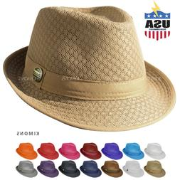 Light Weight Mesh Fedora hat Soft Cool Summer Classic Trilby