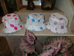 Little Girls 3 white Hats w/pink blue purple Polka Dots lace