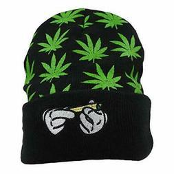 Marijuana Weed Knit-Beanie Hats - Leaf Pot Cuffed Winter, Gr