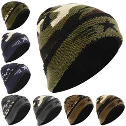 Men Army Knit Beanie Hats Winter Warmer Ski Baggy Slouch Cap
