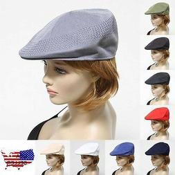 Men Mesh Ivy Hat Fashion Newsboy Cabbie Ventair Flat Golf Ca