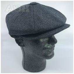 Men's 100% Wool Classic 8 Panel Paperboy Newsboy Cabbie Snap