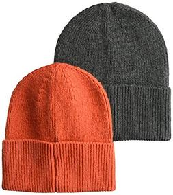 Amazon Essentials Men's  2-Pack Knit Hat, Orange/Gray Heathe