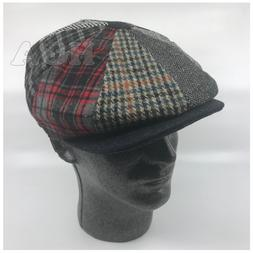 Men's Classic 8 Panel 100% Wool Newsboy Snap Brim Multi Patt