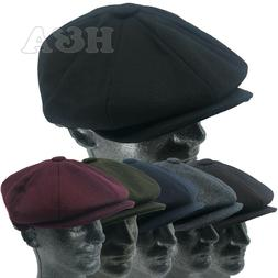 Men's Classic 8 Panel Newsboy Snap Brim Cabbie Premium Wool