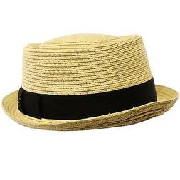Men's Cool Summer Straw Pork Pie Derby Fedora Upturn Brim Ha