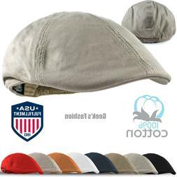 Men's Cotton Solid Gatsby Ivy Hat Newsboy Summer Duckbill Fl