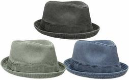 Men's Distressed Washed Cotton Fedora Hat w/ Pattern Lining