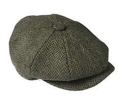 Men's Herringbone Newsboy Cap Tweed 100% Wool Applejack 8 Pa