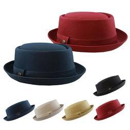 Men's Round Top Porkpie Cotton Fedora Hat Stingy Brim Casual