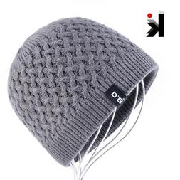 Men's Skullies Hat Beanies Winter Bonnet Knitted Wool Hat Ad