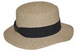 Epoch Men's Summer Boater Straw Pork Pie Flat Top Hat Natura