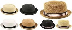 Men's Summer Lightweight Straw Pork Pie Derby Fedora Upturn