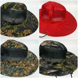 Men's Wide Brim Fishing / Hunting Hat Mesh Button Up Sides w